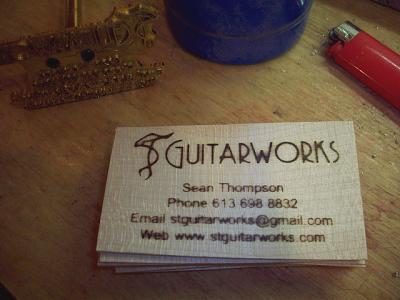 Stguitarworks ottawas guitar repair branded business cards colourmoves